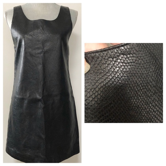 Topshop Dresses & Skirts - Topshop faux snakeprint leather shift dress